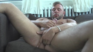 french hunk fingers his own hole while jacking off