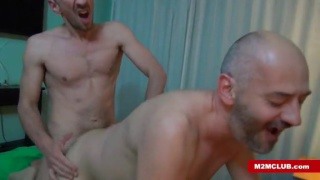 bald bottom takes a stiff curved cock up his ass