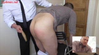 james gets the hair brush across his bare bottom