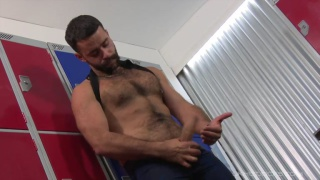 furry french stud Teddy Torres in the locker room