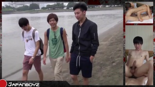 Eegii Hosoo meets two japanese boys on the beach