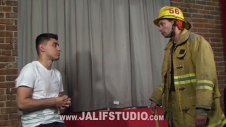 Horny firefighter fucked by big dick latin dude