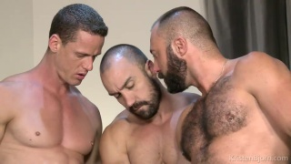 2 bearded men and a chiseled stud