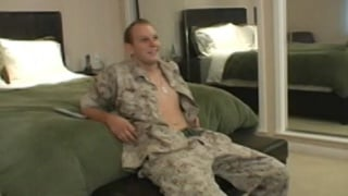 guy in marine uniform gets a blowjob