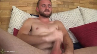 bearded cub jerks his cock