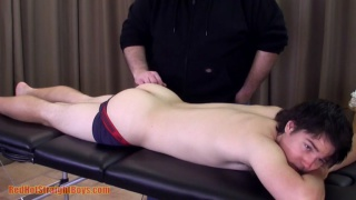 22-year-old straight boy gets his firm butt massaged