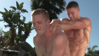 Ryan Rose fucks Scott Riley poolside
