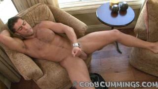 Cody strokes his fat cock