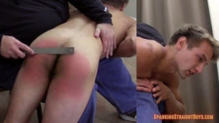 ripped blond gets spanked with a stick