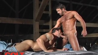 Tom Chase and Carlo Masi fuck each other in the barn