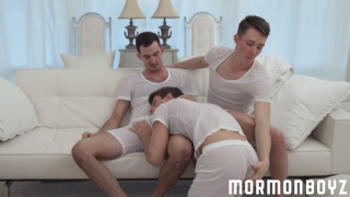three mormon boys fucking on a couch