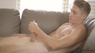 blond stud lane jerks his dick