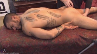 straight hunk izzy face down on massage table