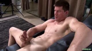muscle hunk jake bane strokes his big dick