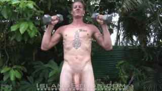 Basketball Jock unloads his heavy low-hanging balls