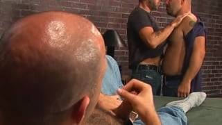 two bald daddies spit roast a bottom