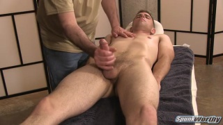straight guy gets his 7x5 cock sucked on massage table