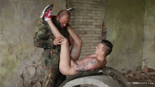 hung soldier fucks captive lad in his sneakers