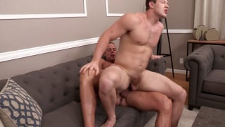 big muscle guys fucking on a couch