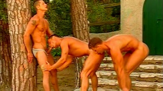 Outdoor threeway at night