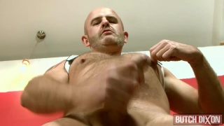bald daddy jacks off in white leather harness