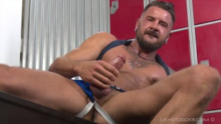 Dolf Dietrich jacks off in locker room