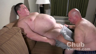 bald man sucks off his chub buddy