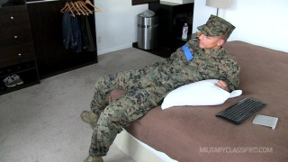 guy in military uniform jerks his cock