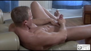 guys peels off his jeans for massage hunk