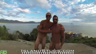 Uncut Brazilian Roommates fuck around outdoors naked
