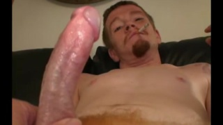 redneck with chin scruff jerks his dick