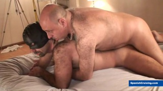 masked man gets ass fucked by furry latino daddy