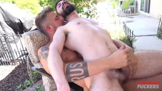 Geoff Gregorio sits on Christian Matthews' bare cock