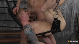 hung jock throat fucked in a sling