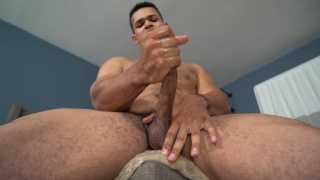 sexy muscled stud name israel jerks his big cock