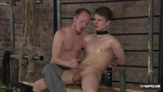 bound euro boy with collar gets insanely hot handjob