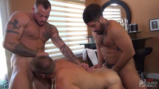 hans berlin gets spit roast fucked by sean duran and trey turner