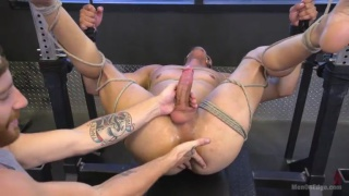 bound guy gets his hole fingered and cock edged