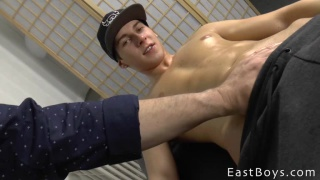 handsome guy gets a handjob