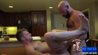 bald bearded daddy bare fucks cum-hungry bottom