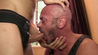 hairy bald daddy gets his throat and ass fucked