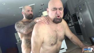 sexy bear cub fucks daddy's ass over a table