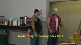 two hairy rednecks fuck in a convenience store