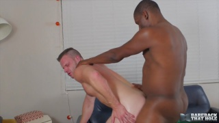 power bottom sits on super hung black guy's cock