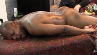 beefy black stud gets hole fingering on massage table