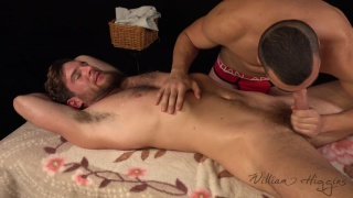bearded hunk gets massaged and sucked off