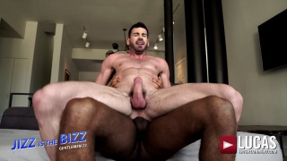 hairy muscle guy rides a big black dick