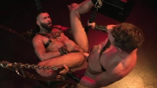 hung stud fucks bearded bottom in leather sling