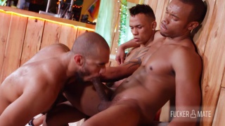 cocksucker gets a double dose of big dick