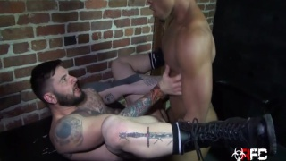 hung black stud fucks hairy muscled inked bottom